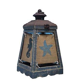 מנורת הדגשה כחולה של קייפ לנטרן עם סמלי חוף