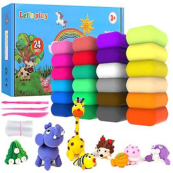 24 Colors air dry clay, ultra light modeling clay, qmay magic clay artist studio toy, no-toxic model