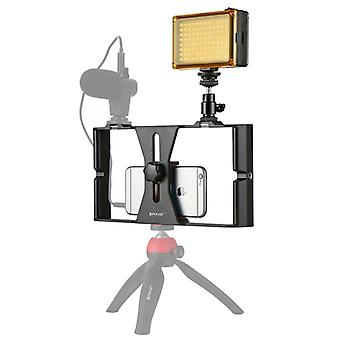 PULUZ 2 i 1 Vlogging Live Broadcast LED Selfie Light Smartphone Video Rig Kits med Cold Shoe Tripod Head för iPhone, Galaxy, Huawei, Xiaomi, HTC, LG