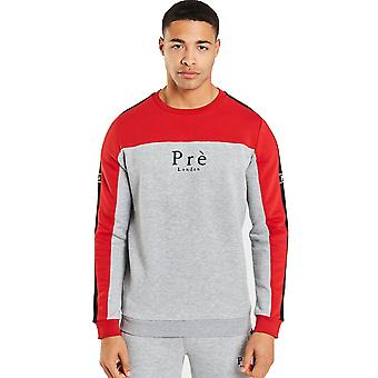 Pre London Altura Crew Sweatshirt - Grey Marl / Samba Red