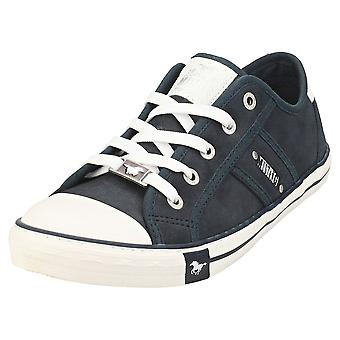 Mustang Lace Up Low Top Womens Casual Trainers in Navy