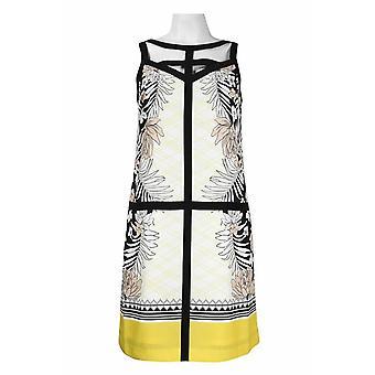 Adrianna Papell Ausschnitt Ausschnitt solide Rohren gedruckt Crepe Shift Kleid
