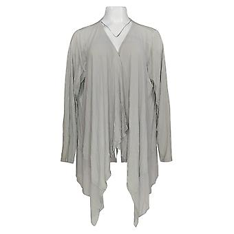 Joan Rivers Classics Collection Mujer's Suéter Gasa Drape Gray A263873