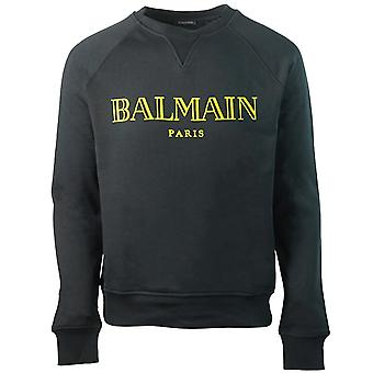 Balmain Paris Velvet Logo Black Sweater