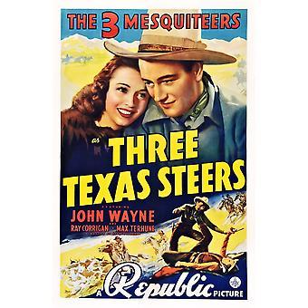 3 テキサス牛私たち左のキャロル ・ ランディス ジョン ウェイン空港 1939 映画ポスター Masterprint からポスター アート トップ