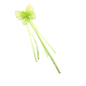 Butterfly princess fairy wand glitter detail ribbons fancy dress flower girl (green)