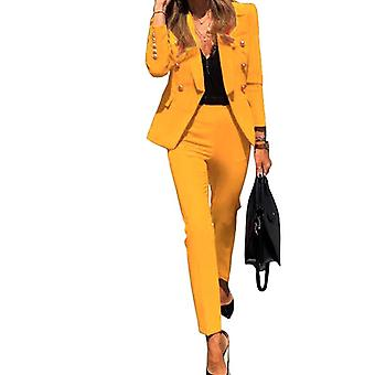 Notched Full Sleeve Blazers Pencil Pants Suit