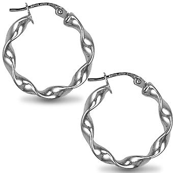 Jewelco Londres Sterling Silver Loose Twist Hoop Brincos-3mm-2cm