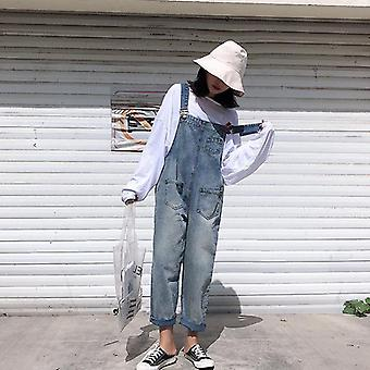 Women Denim Jumpsuit, Bib Jeans, Casual Trousers, Loose Pants, Wide Leg Rompers