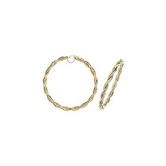Eternity 9ct Gold Extra Large Round 70mm Twisted Creole Hoop Earrings