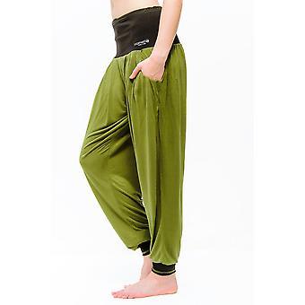 Vinayasa Baggy Yoga Pants - Harem Pants Style, Olive/Black