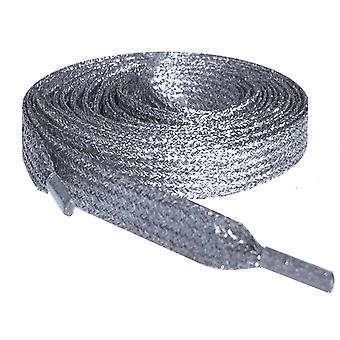 Silver Metallic Flat Glitter Shoelaces