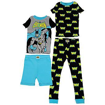 Batman Figure and All Over Symbols Youth 4-Piece Pajama Set