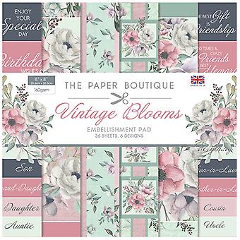 The Paper Boutique - Vintage Blooms Collection - 8x8 Embellishments Pad