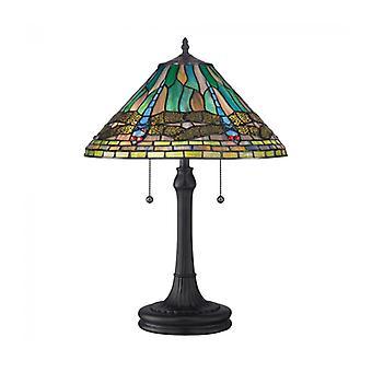 Lámpara Koning, Bronce Vintage Y Vidrio Tiffany