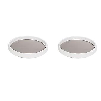 Plastic round rotatable storage tray 2pcs White and Grey