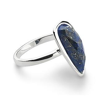 Kit Heath Silver Coast Pebble Stone Long Lapis Lazuli Ring 1179LP