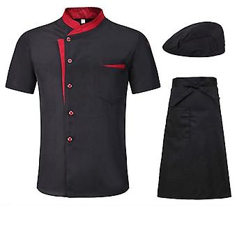 男性女性の半袖通気性シェフジャケット、夏のキッチンワークユニフォーム
