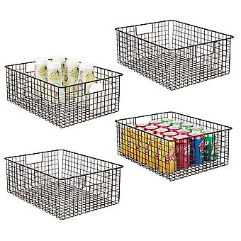 mDesign Metal Wire Food Organizer Storage Bins with Handles, 4 Pack