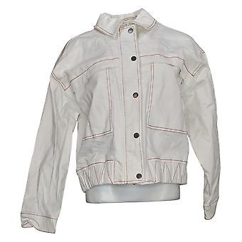 Peace Love World Women's Jacket Collared Denim White A377009
