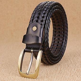 طبعة واسعة اليد المنسوجة خصر جلدية حقيقية للرجال، طول الحزام: 120cm (أسود)