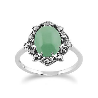 925 Sterling Silver Art Nouveau Green Jade & Marcasite Ring