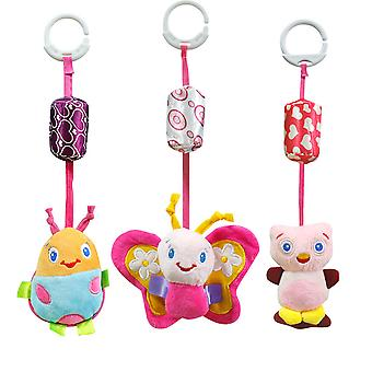 3pcs Butterfly Ladybug Owl Oversized Baby Hanging Toys Children Rattle Toys With Chime Soft Plush Rattling Doll