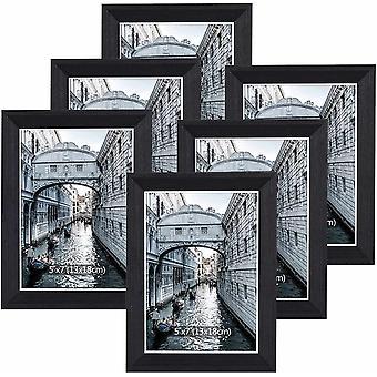 FengChun Bilderrahmen 13x18 cm Set 6 Holz Schwarz Vintage Glas Fotorahmen Portraitrahmen mit