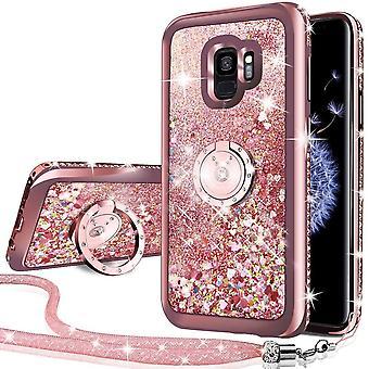 FengChun Galaxy S9 Hülle, [Silverback] Mädchen Glitzern Handyhülle hülle mit drehdem Ringständer,