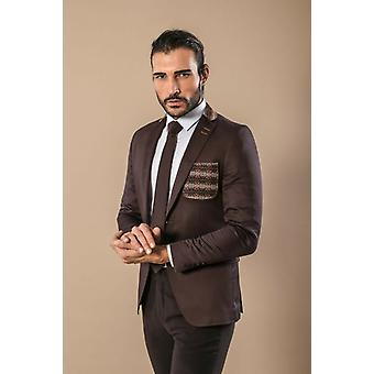 Chest pocket and collar modeled cotton brown blazer