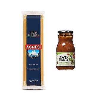 Κιτ ζυμαρικών με 2 προϊόντα, ιταλικά μακαρόνια, ντομάτα και βάζο σάλτσας βασιλικού