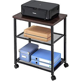 FengChun Druckerständer Druckerhalter mit Rädern Holz Metall Braun Mesh 2 Regal Wagen für Büro Küche