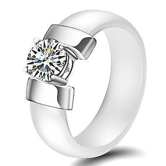 Keramiska plus kubiska Zirconia ringar för kvinnor rostfritt stål bröllop ring förlovning smycken