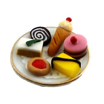 Dolls House Plate Of Fancy Fresh Cream Cakes Miniature Afternoon Tea