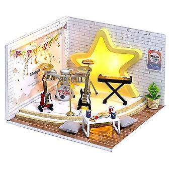 Cutebee poppenhuis diy miniatuur poppenhuis model houten speelgoed meubels casa de boneca poppen huizen speelgoed verjaardagscadeau h012
