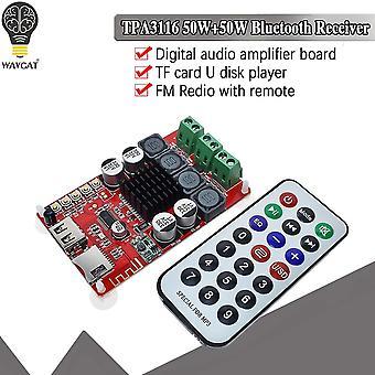 Wavgat tpa3116 50w +50w bluetooth ontvanger digitale audio versterker board tf kaart u disk player fm redio met afstandsbediening