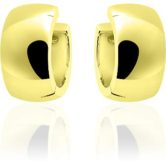 Gisser Joyas - Pendientes - Pendientes - Media esfera lisa con bisagra - 9mm de ancho - 18mmØ - Oro amarillo Plateado plata 925