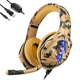 Gaming Headset voor PS4, PC, Xbox One Controller, Noise Cancelling Over Ear Headphones met Microfoon, 7 kleuren LED-licht, Bass Surround, Soft Memory Earmuffs voor Laptop Mac Nintendo Switch Games (geel)