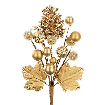 18cm Pinecone and Berry Mixed Pick - Gold