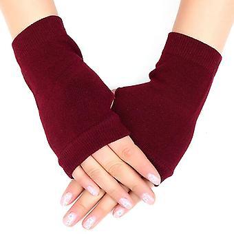 (Wine Red) Womens Half Finger Fingerless Warm Winter Gloves Wrist Hand Warmer Knit Mittens