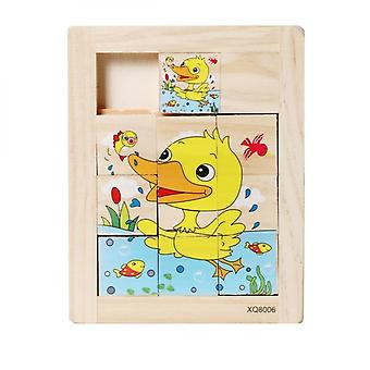 Childrens Early Educational Intelligence Development Nine Wooden Sliding Puzzle Toys-(duck)