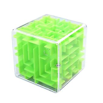 3d Maze Magic Speed Cube , Transparent Six Sided Puzzle, Rolling Ball Game(Green)