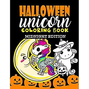 Halloween Unicorn Coloring Book Midnight Edition: For Kids Ages 4-8 Girls Women Teens Halloween Activity Book for Halloween Party Favor Gifts - Halloween Coloring Book for Kids with Black Backgrounds