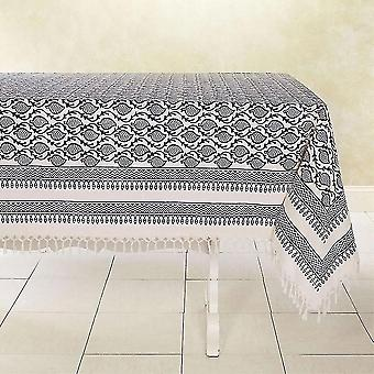 Tablecloths spura home hand made indian oriental tranquility blue cotton tablecloth 5'x5'