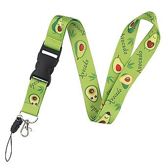 Phone charms straps cartoon fruits avocado lanyard neck strap keychain for doctor nurse student women id holder