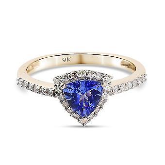 TJC Tanzanite Halo Ring 9K Yellow Gold Anniversary Gift White Diamond 0.72ct(M)