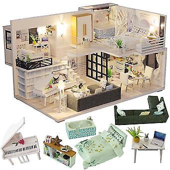 Cutebee diy dollhouse dřevěné panenky domy miniaturní panenky dům nábytek kit casa hudba led hračky pro