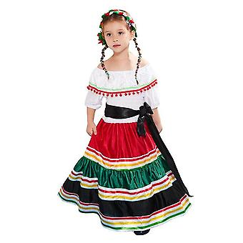 Retro Girls Mexican Dress Cosplay Halloween Costume For Kids Mexico Traditional Senorita Dance Carnival Party Performance Dress
