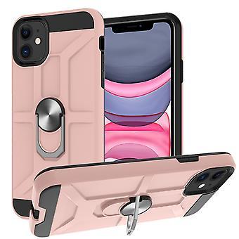 Étui pour iphone 11 6.1 pouces Anneau rotatif Béquille Hockproof Protection contre les chocs -rose