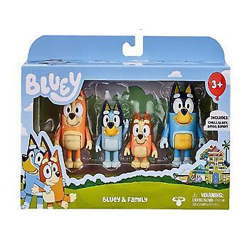 Figurine d'action Bluey et amis, Jouets de famille 4 Pcs Set, Cadeau enfants
